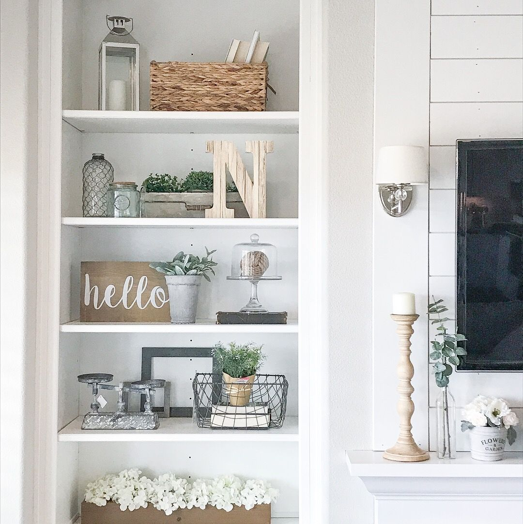 Built In Bookshelf Rustic Farmhouse Bookshelf Decor Ig Sincerelystephanie3 Farmhouse Shelves Decor Shelf Decor Living Room Bookshelves In Living Room