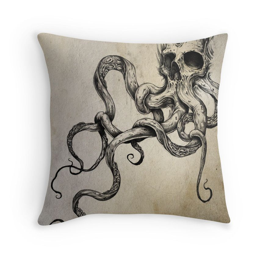 Photo of 'Skulltapus' Throw Pillow by Shawn Coss