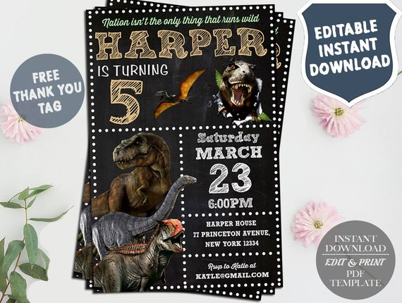 Jurassic World Invitation Birthday Dinosaur B