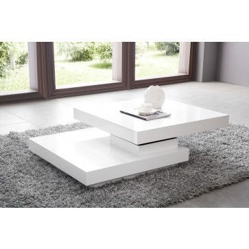 Table Basse Carree A Plateau Pivotant Design Blanc Laque