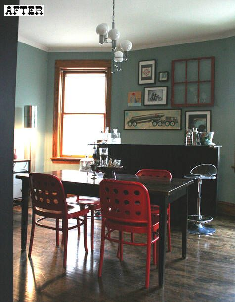 eclectic dining room. unconventional color palette (red, aqua-grey
