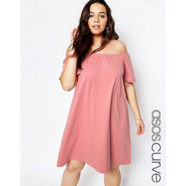 ASOS CURVE Boho Off Shoulder Dress ($22) ❤ liked on Polyvore ...