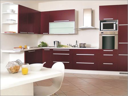 Modern Galley Style Modular Kitchen With Wine Colored Cabinets