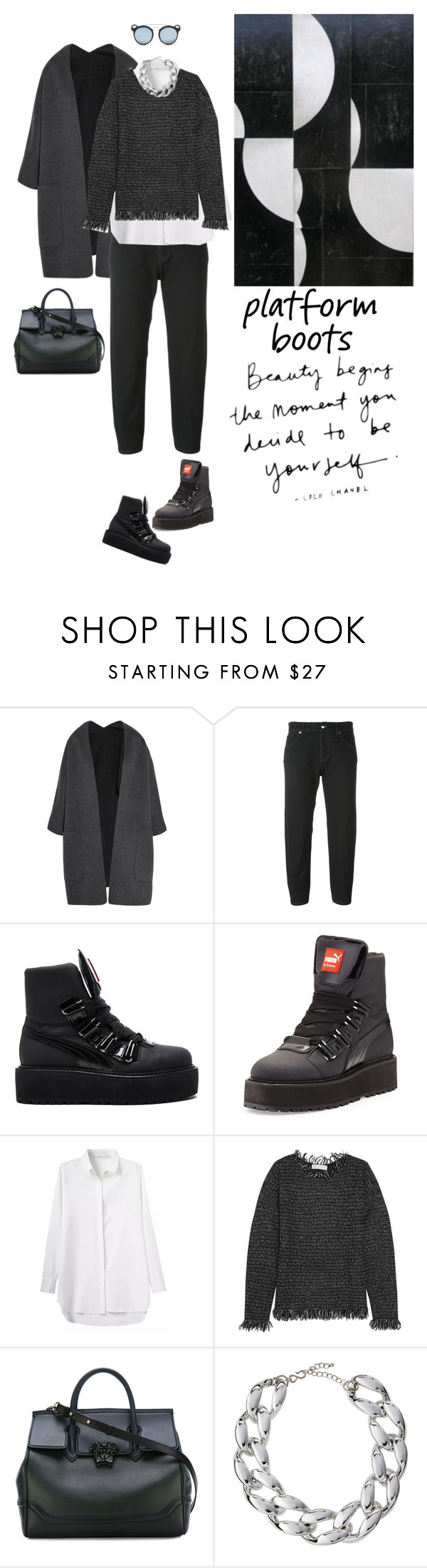 """Untitled #997"" by tamara-40 ❤ liked on Polyvore featuring Vince, MM6 Maison Margiela, Puma, MICHAEL Michael Kors, Versace, Kenneth Jay Lane, Ray-Ban and PlatformBoots"