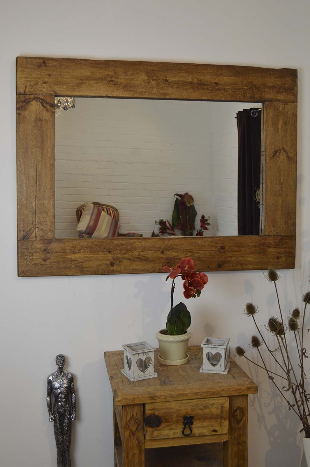 Large rustic natural solid wood brown wall mirror 4ft x 3ft 122cm large rustic natural solid wood brown wall mirror 4ft x 3ft 122cm x 91cm amipublicfo Images