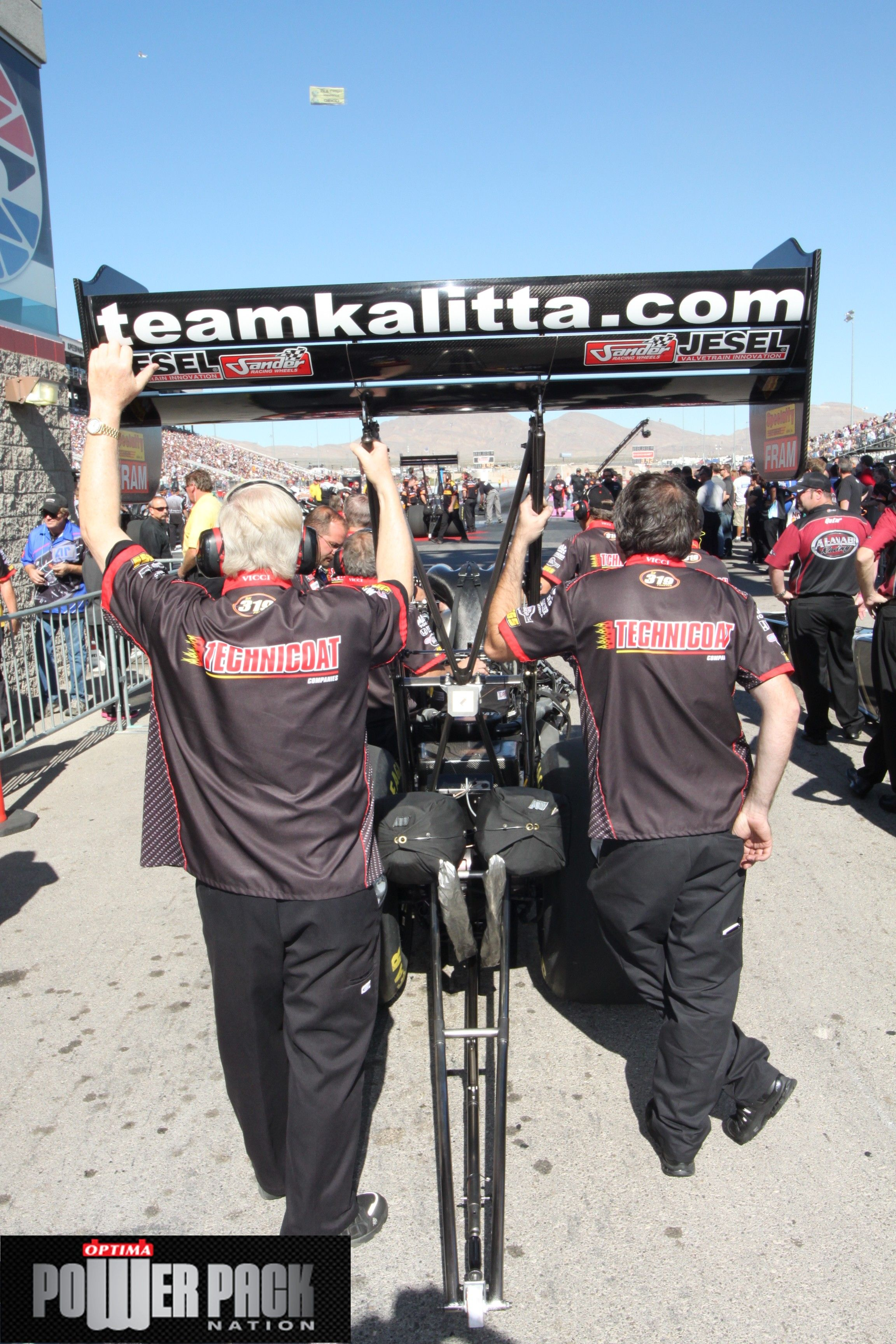 Team kalitta waiting to take off at the strip at las for Las vegas motor speedway drag strip