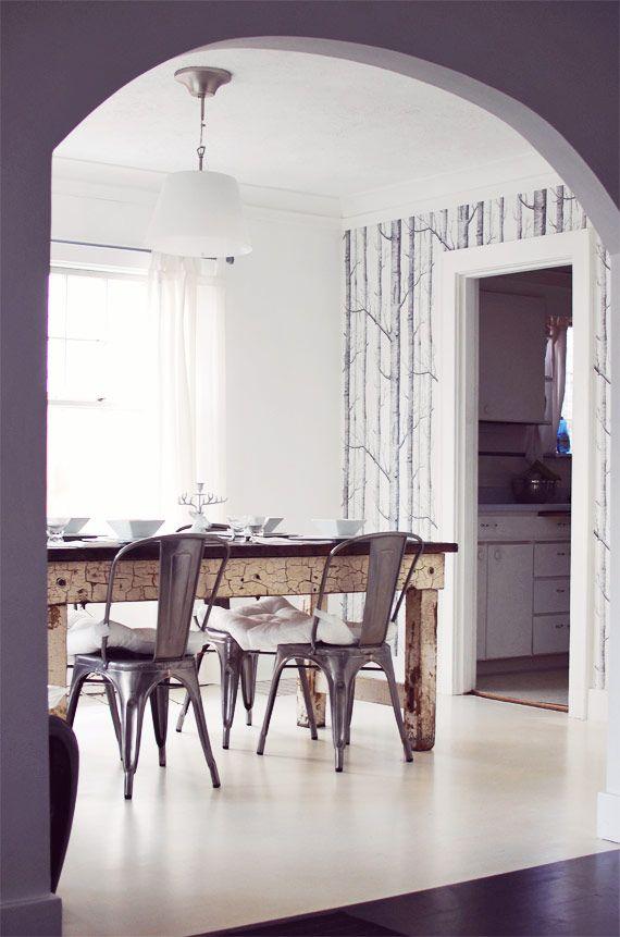 Tree Design Wallpaper Living Room: I Love Nubby Twiglet's Dining Room. Wood, Metal, White