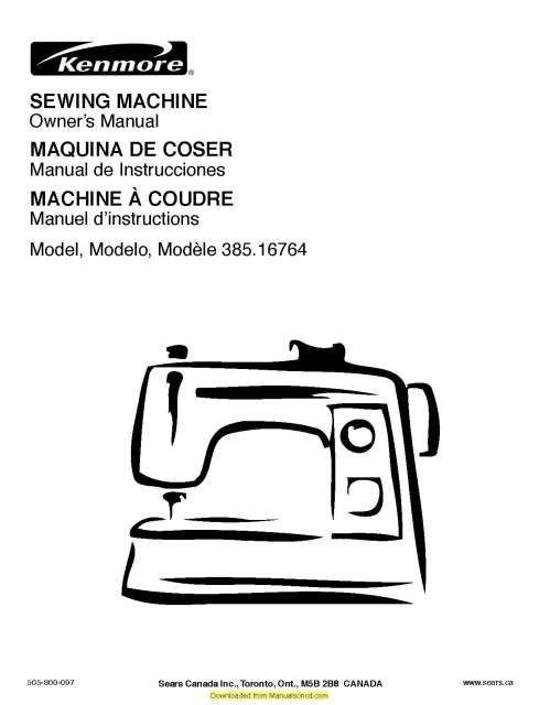 Kenmore 385.16764 Sewing Machine Instruction Manual