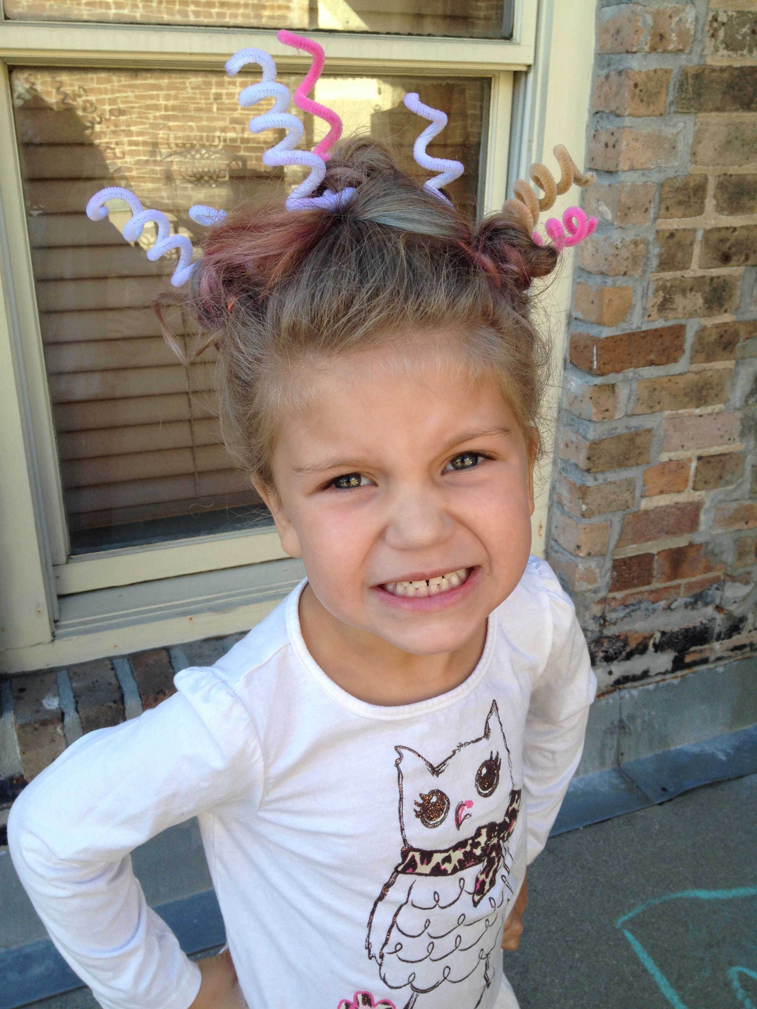 Crazy Hair Day For Preschool Kids Hairstyles Girls Toddler Hairstyles Girl Crazy Hair Days