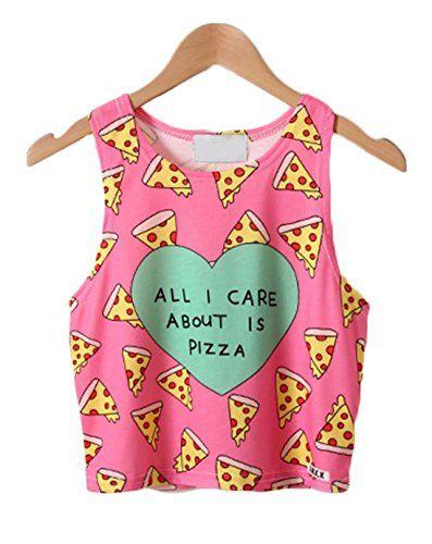 Dreagal Girl's Fashion Pizza Print Sleeveless Crop Top St...