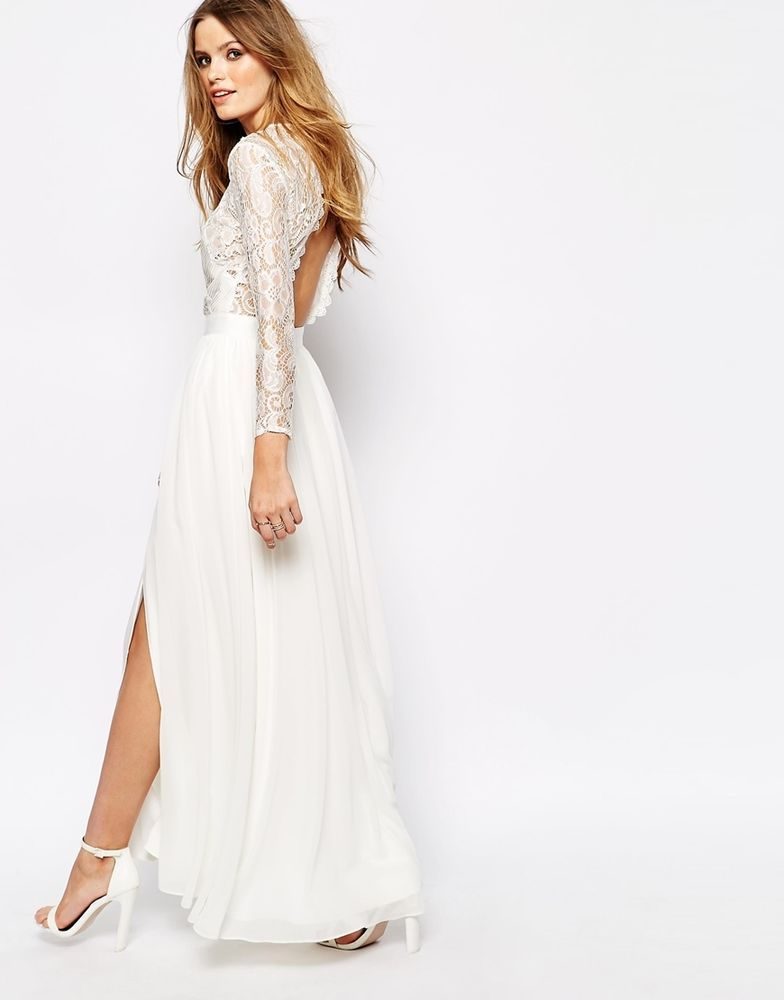 Fame And Partners Geo Heartline Lace Panel Maxi Dress In Ivory UK 10 EU 38