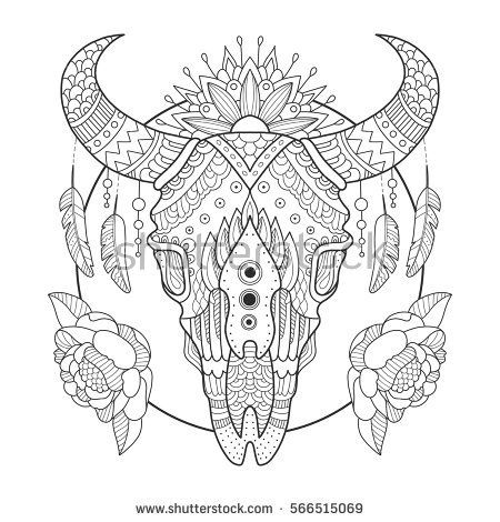 Cow Skull Coloring Book Vector Illustration Anti Stress Coloring