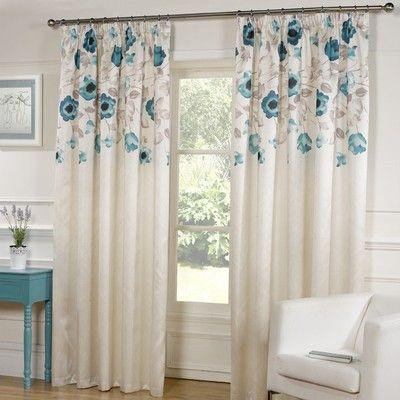 Designed By DEBORAH WILLMINGTON DESIGNS   Estelle Lined Tape Teal Blue  Curtains
