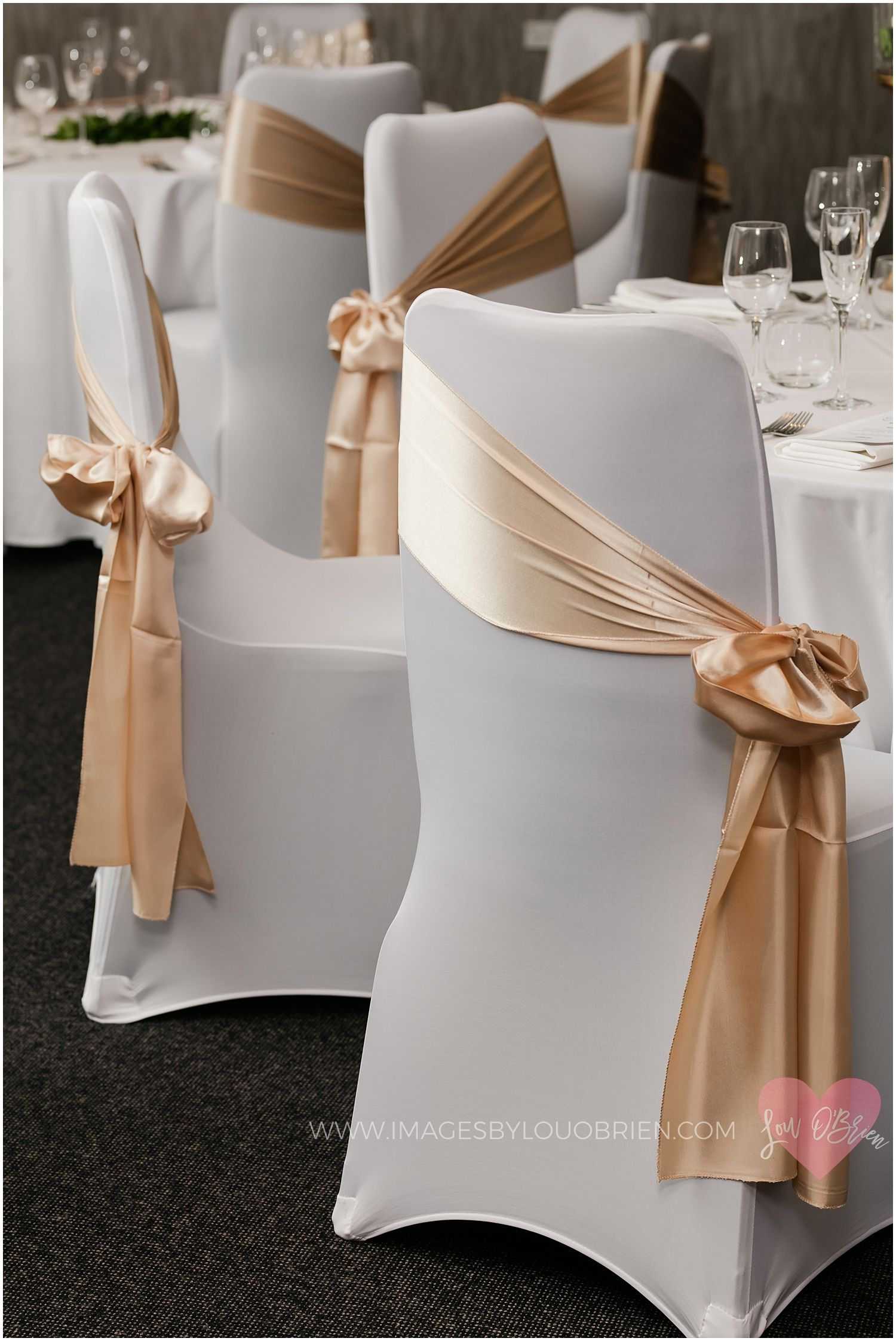 White Chair Cover With Gold Sash Side Tied Wedding Chairs Diy