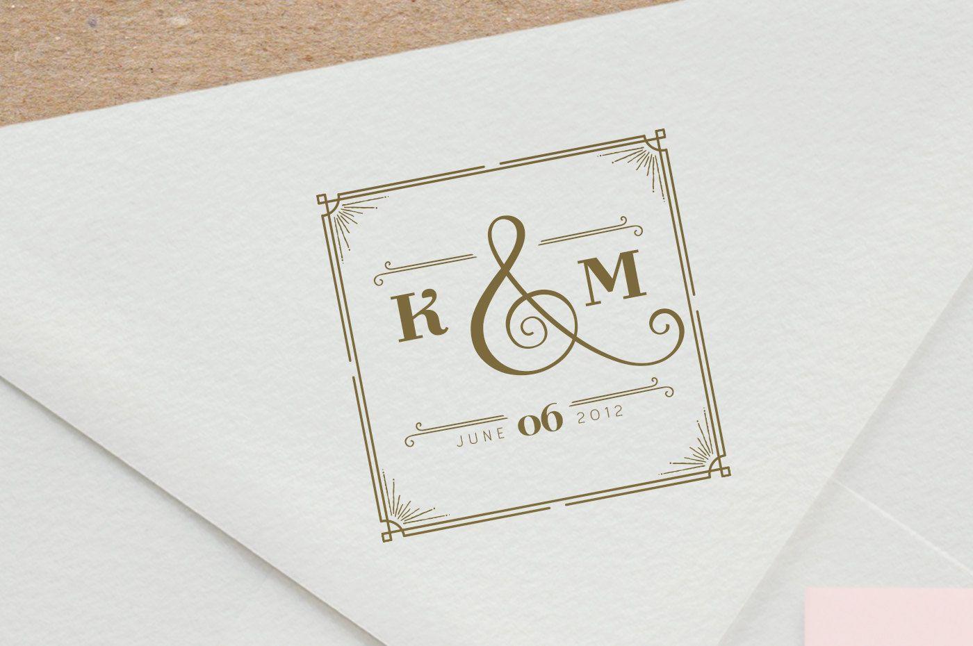 Great Gatsby Wedding Monogram Stamp Custom Rubber Stamp Wedding