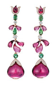 Ode to nature collection by Chopard. White Gold Earrings with rubellites, tsavorite and diamonds..