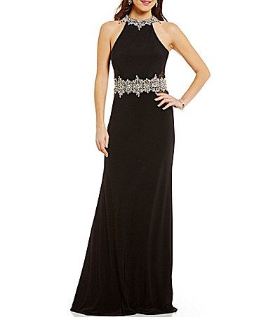 902d750682a Coya Collection Beaded High Neckline Open Back IllusionInset Long Dress  Dillards  Formal Prom