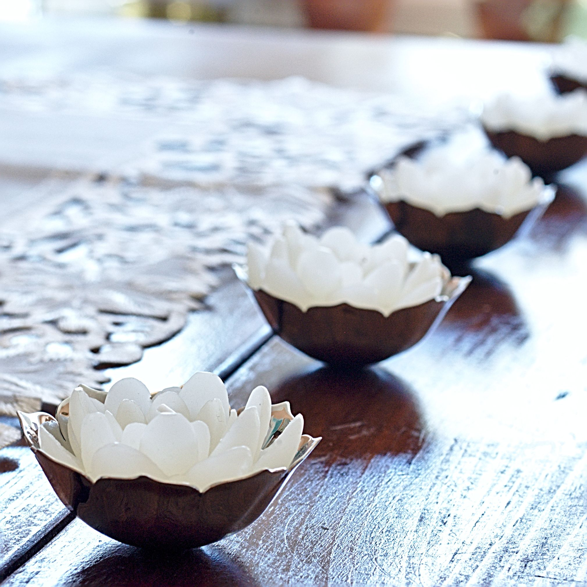 Wedding Altar Candles: Lotus Offering Bowls With White Lotus Candles.