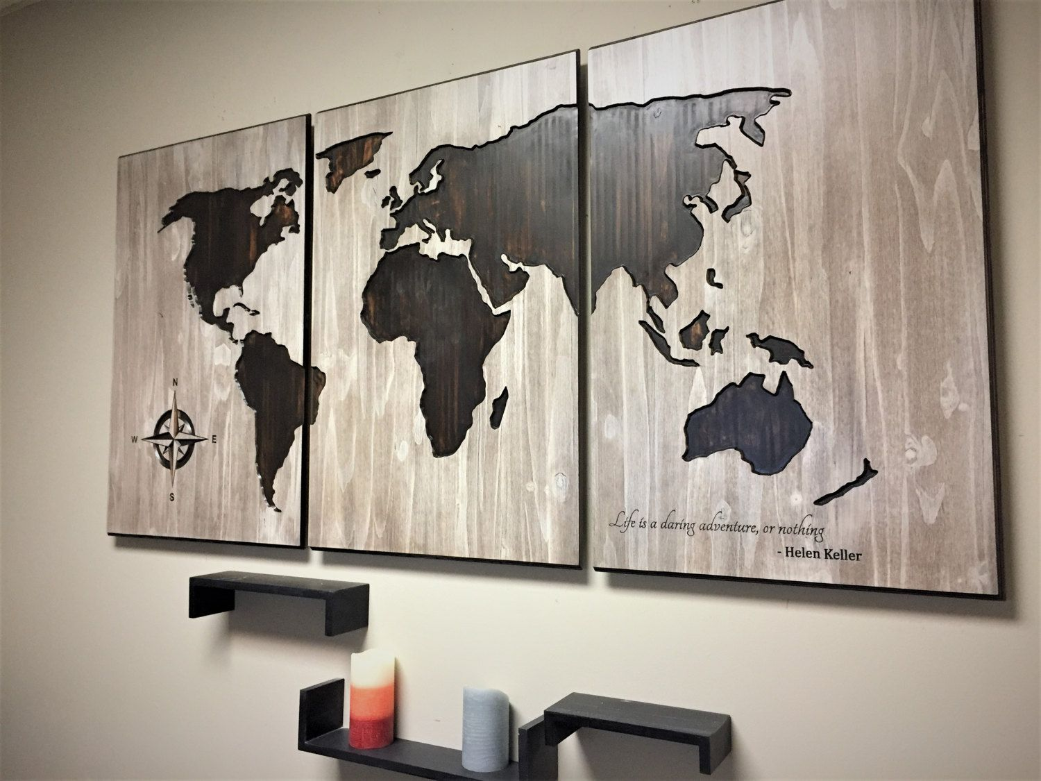 Luxurious Wall Decor World Map Art Wood Carved Sign