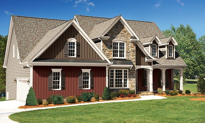 Board And Batten Siding Outstanding Haven Insulated Royal Building Products Home Design Ideas 7 Brick Exterior House House Exterior Modern Farmhouse Exterior