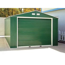 Duramax Large Metal Garage With Roll Up Door 12 X 32 Metal Garages Metal Shed Vinyl Sheds