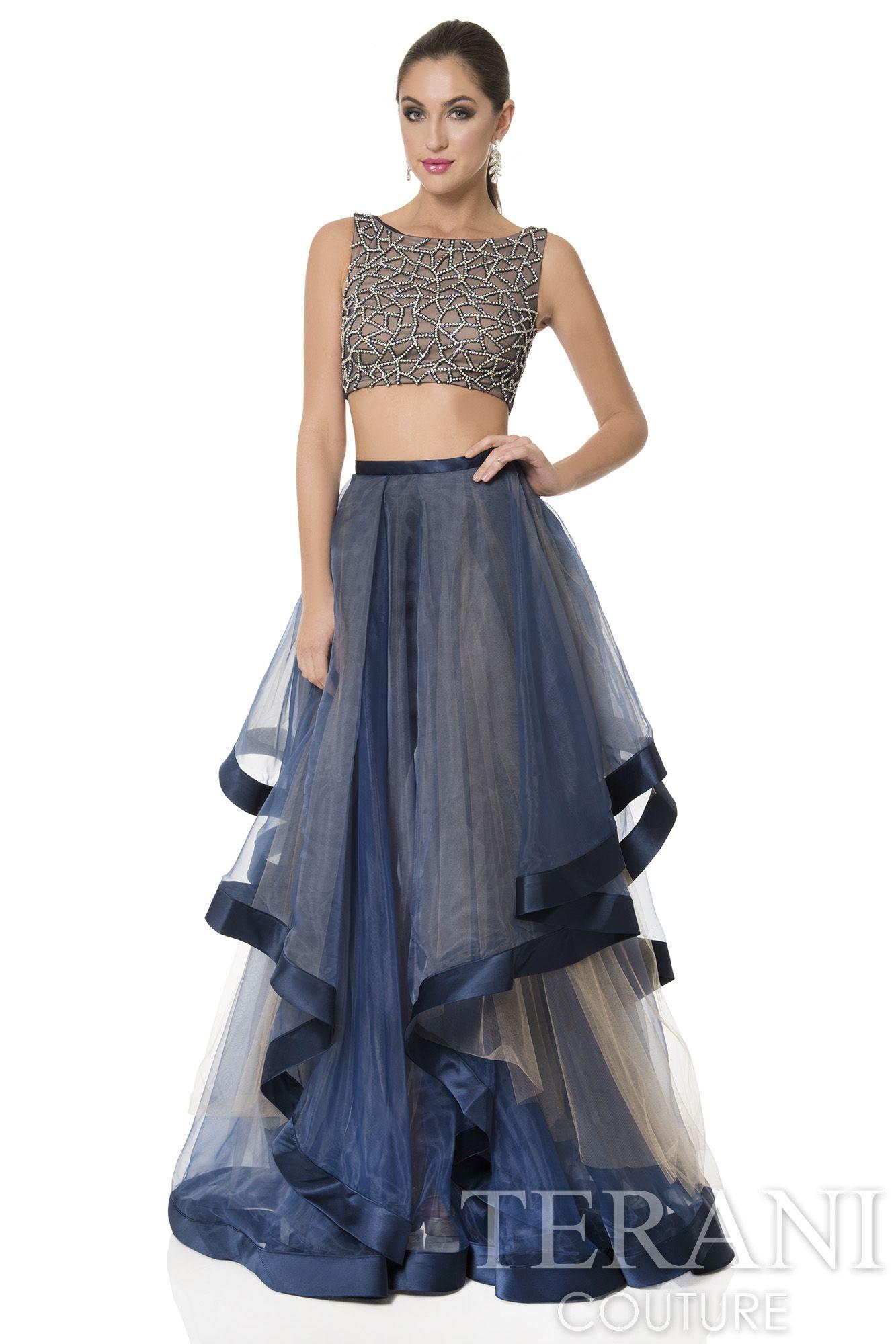 Terani Couture Prom Dress Sheer Illusion Spaghetti Stap