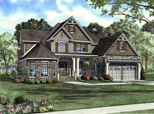 Elevation of Craftsman House Plan Can do with without basement