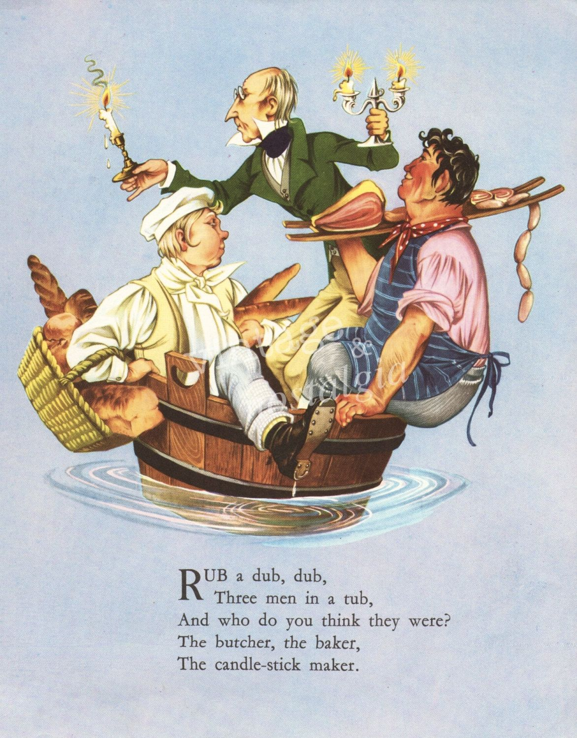 Vintage Nursery Rhyme Rub A Dub Three Men In Tub Decor Print Kids Boy Bedroom 9 95 Via Etsy