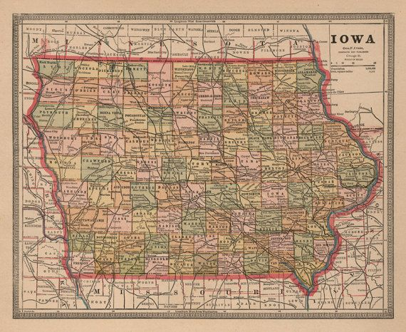 Iowa Vintage Map 1883 Antique Color Map Indiana Map Iowa Map