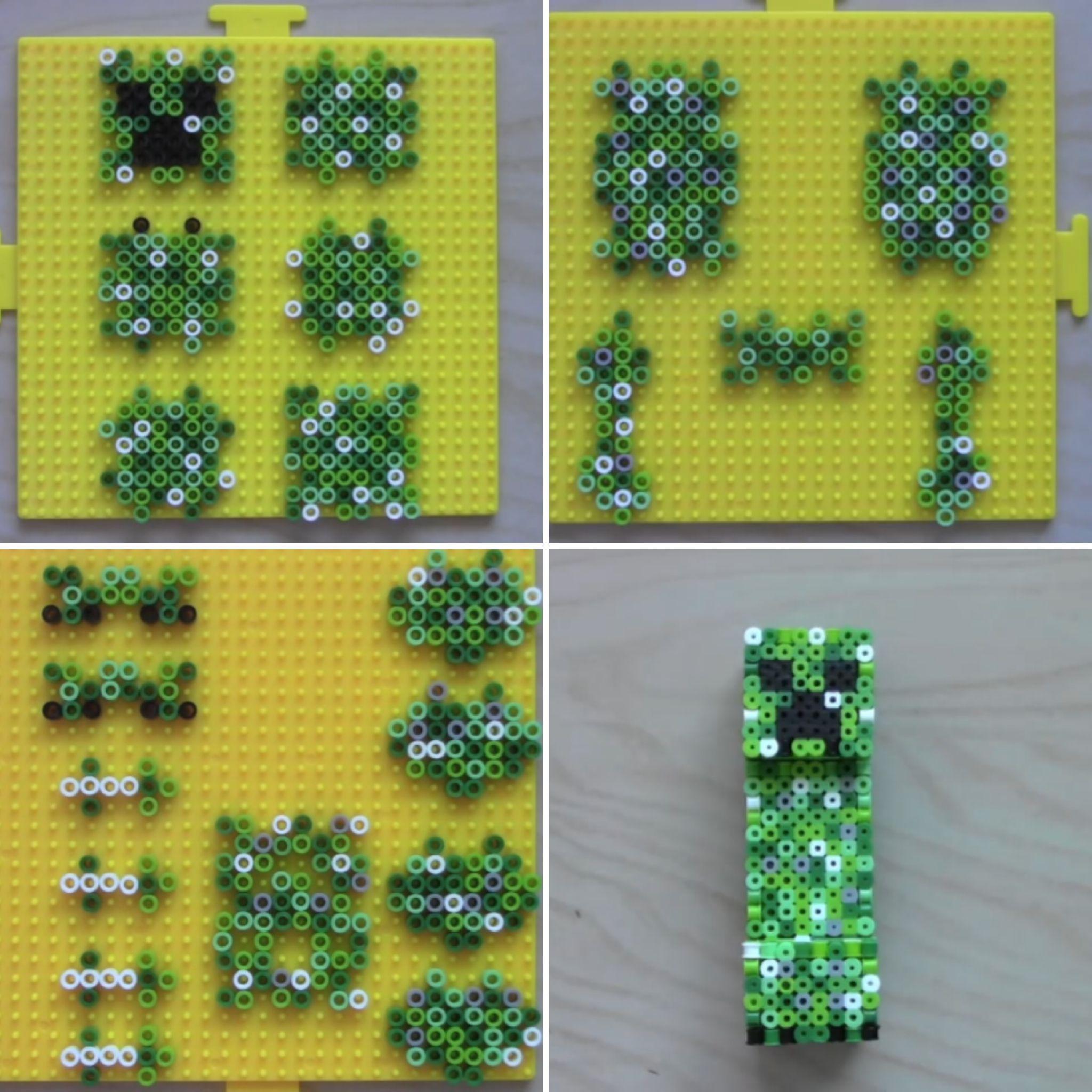 3d Creeper Kandi Pattern 3d Perler Bead Minecraft