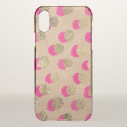 christmas watercolor neon pink gold polka dots iphone x case modern style idea design custom