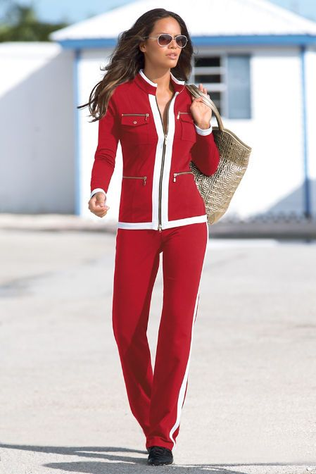 Sporty can be striking and sexy in this warm-up set styled with a two-way gold-tone zip jacket, zip pockets and slimming, elastic-waist pant. Transition from day to night with chic style. Found at Boston Proper!