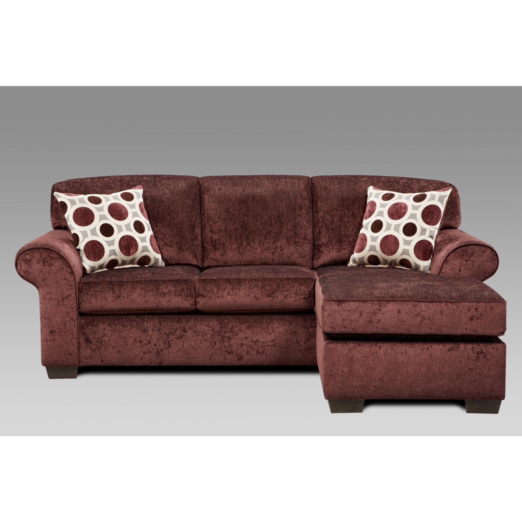 Fabric Sectional Sofa with 2 Pillows Prism Elderberry Sofa Purple