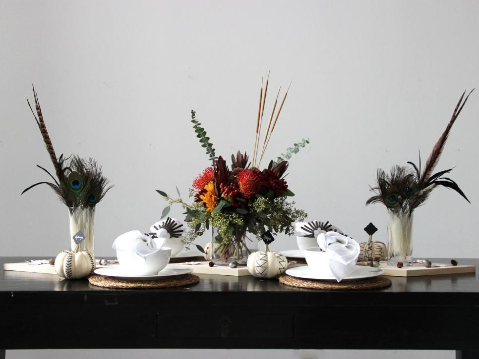 Combine rustic, natural elements with modern design style for a Thanksgiving table that's sure to impress. Your guests will never guess how easy and inexpensive this tablescape is to create with simple how-to projects.
