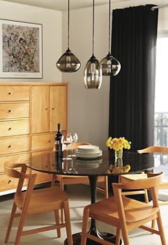 Banded Pendants Globe Pendant Room And Pedestal Dining Table - Room and board saarinen table