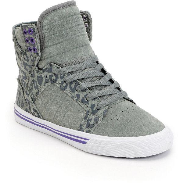 bf514d4aee Supra Womens Skytop Grey Cheetah Print High Top Shoe ($95) ❤ liked on  Polyvore