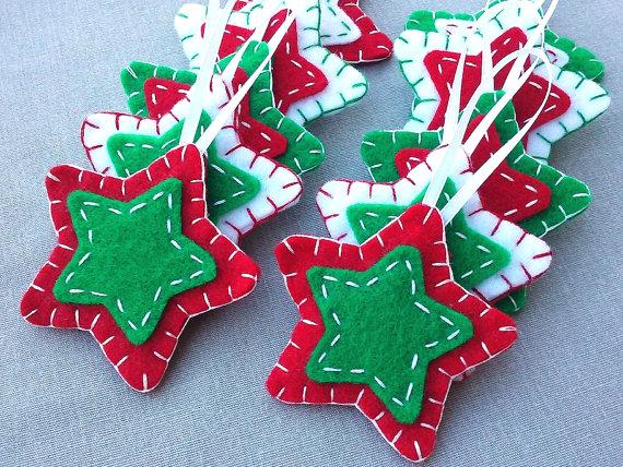 10 rojo y verde estrella adornos adornos de arbol de navidad