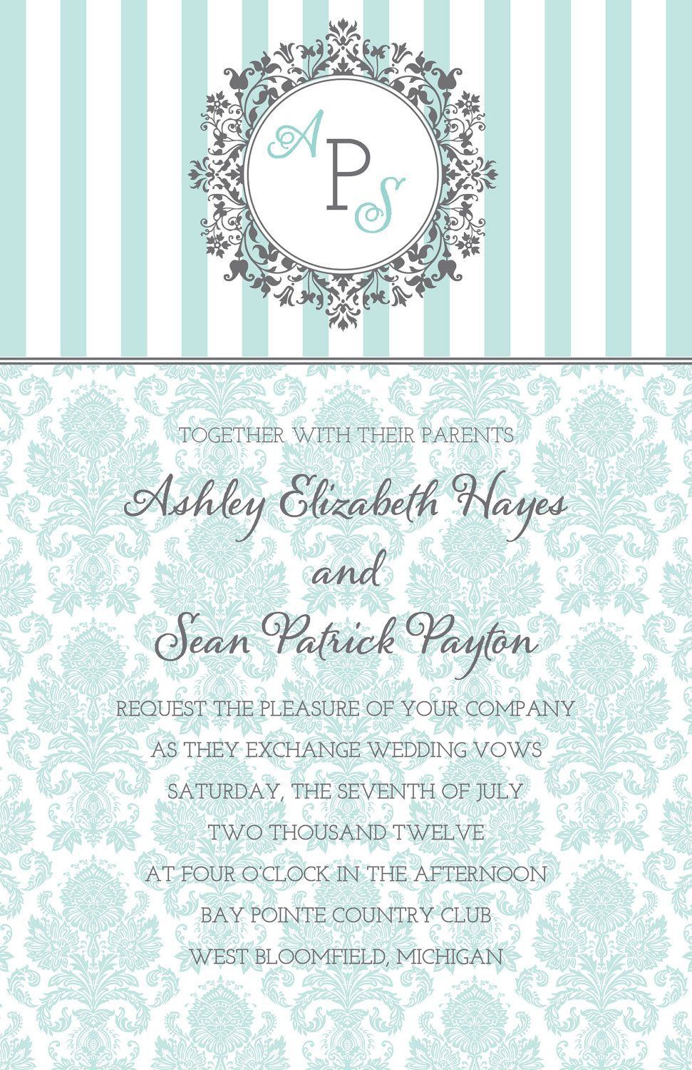 Monogram Tiffany Blue Damask Wedding Invitation Grey 2 50 Via