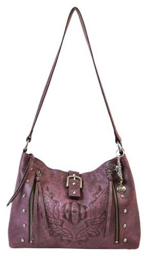 Harley-Davidson Women's Kindred Spirits Leather Hobo Purse WB3728L-Pnkblk, Pink