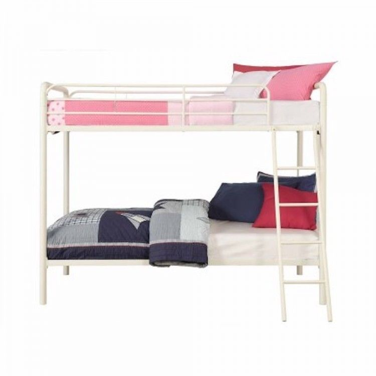 White Twin Bunk Beds Mattress Set Over Twin Kids Metal Frame Ladder