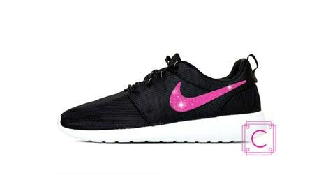 Women's Nike Roshe Two in Black and White with Pink Glitter Swoosh -  Sparkle - Bling Nike Shoes - Glitter Nikes - Cheer Bow - Nike Shoe