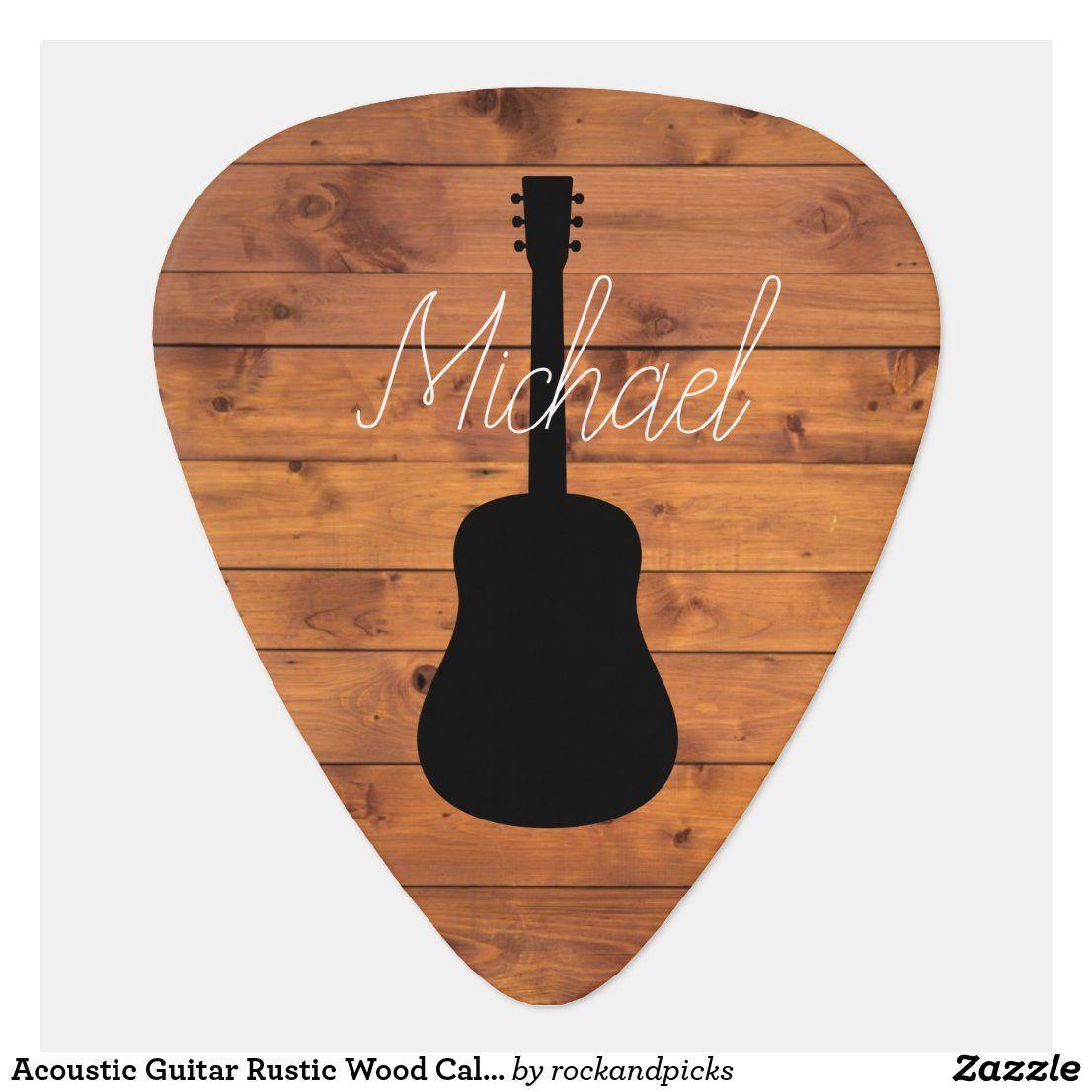 Acoustic Guitar Rustic Wood Calligraphy Name Guitar Pick Zazzle Com In 2021 Calligraphy Name Guitar Gifts Acoustic Guitar