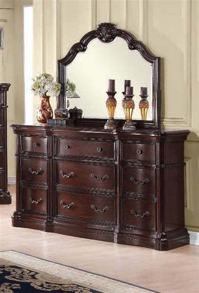 Veradisia Traditional Dark Cherry Black Wood Gl Dresser And Mirror