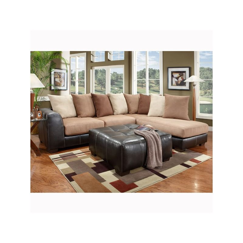 Searider Brown Microfiber And Faux Leather Sectional Sectional