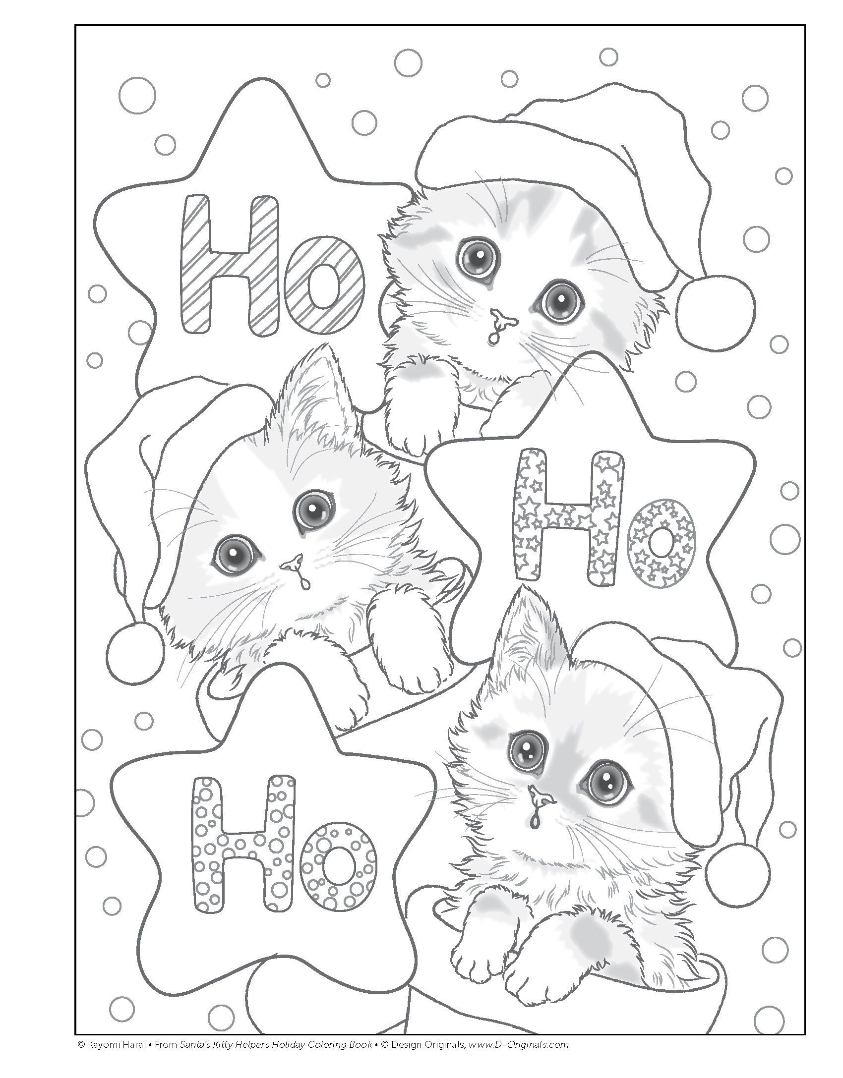 Santa S Kitty Helpers Holiday Coloring Book Design