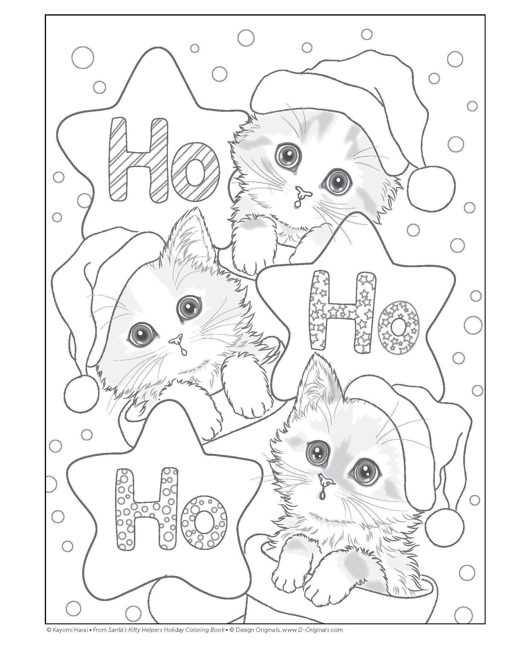 Santa S Kitty Helpers Holiday Coloring Book Design Originals Kayomi Harai 0023863059121 Ama Holiday Coloring Book Kitty Coloring Christmas Coloring Sheets