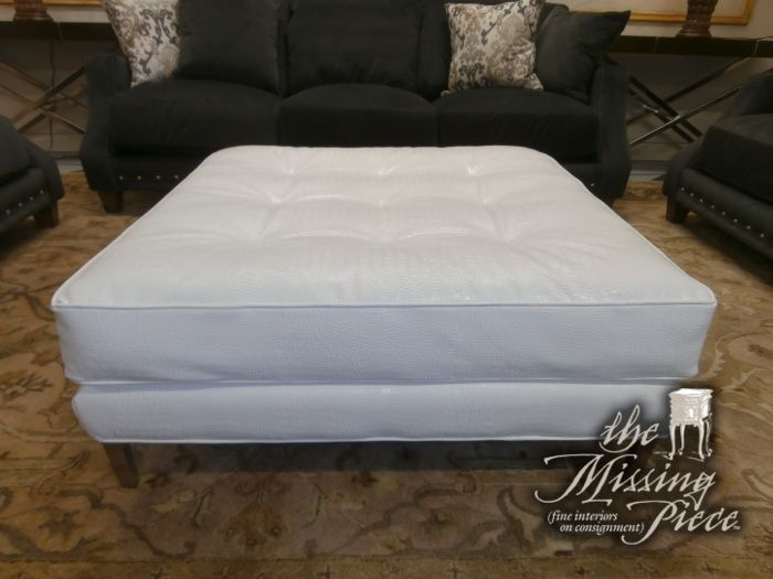 Extra large perfectly square ottoman in a white faux leather