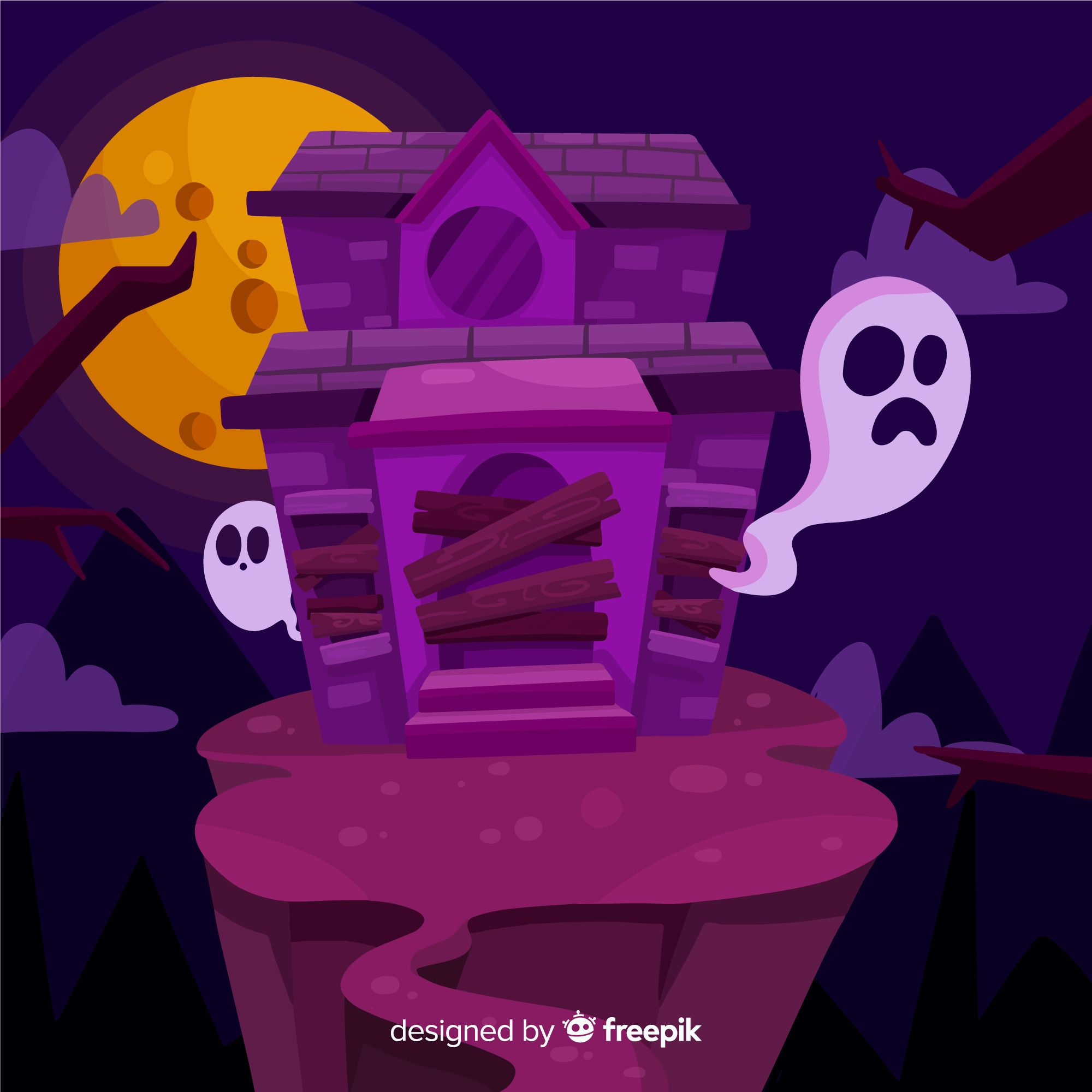 Download Flat Halloween Abandoned House For Free