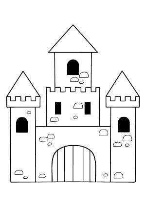 Ritterburg Bastel- und Malvorlage Kostenlos ausdrucken