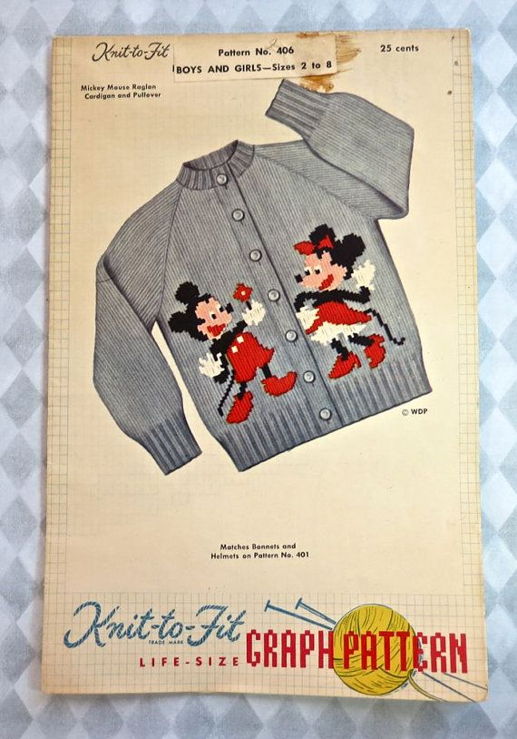 Vintage 1950s Mickey Mouse Sweater Knitting Pattern with Minnie Mouse for Boy...
